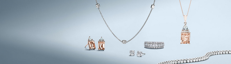 An array of diamond and gemstone jewelry