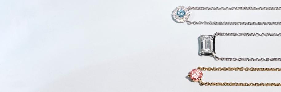 Four Lightbox lab-grown diamond pendants