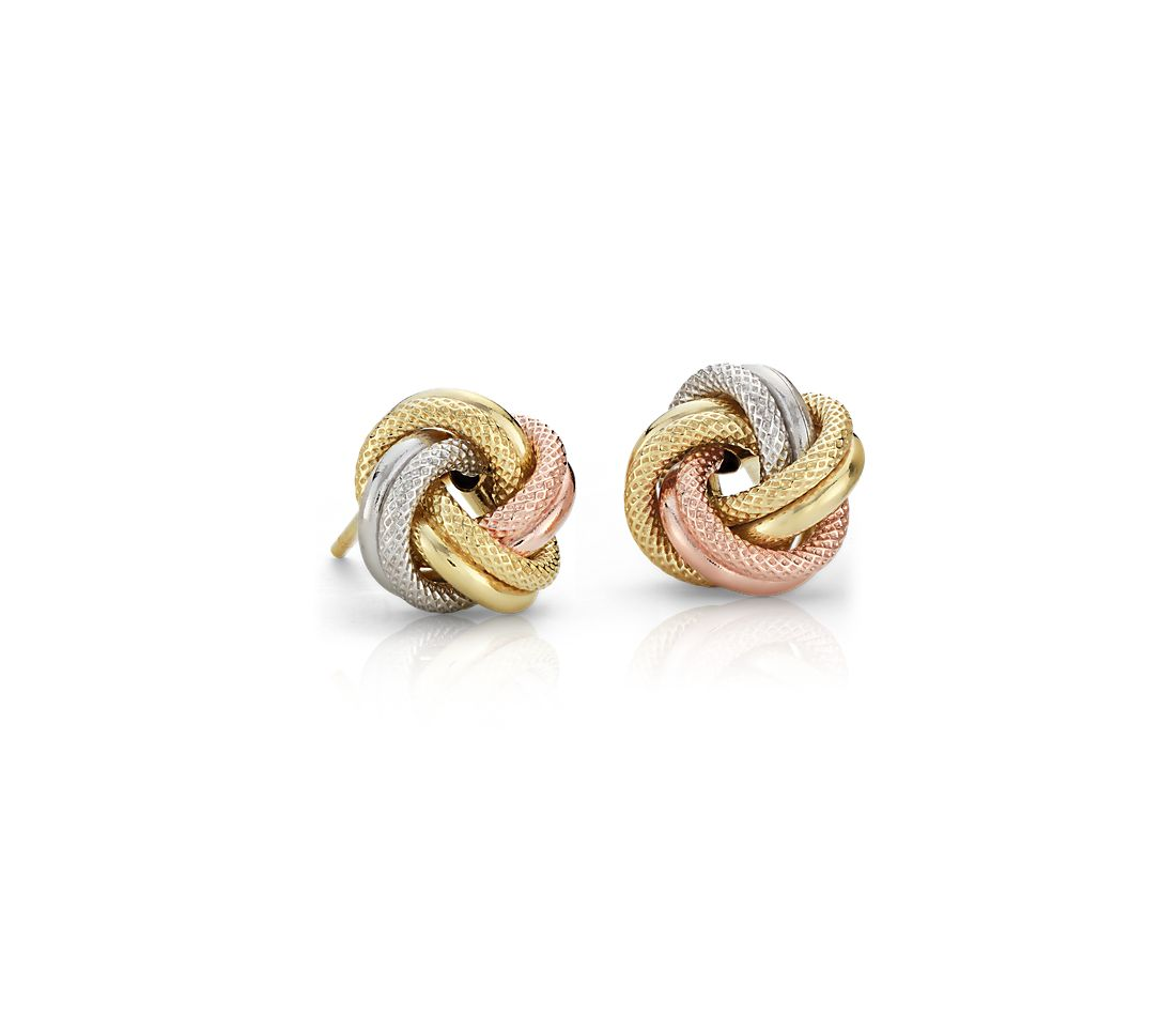 Tri-color 14k Gold Love Knot Stud Earrings