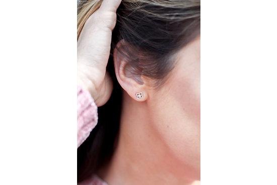 Petite Diamond Floral Stud Earrings in 14k Yellow Gold