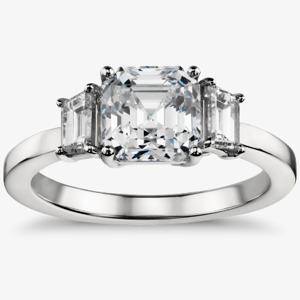Diamond Sidestone Engagement Ring