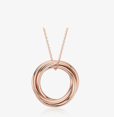 Pendant with three interlocked rings in 14k rose gold.