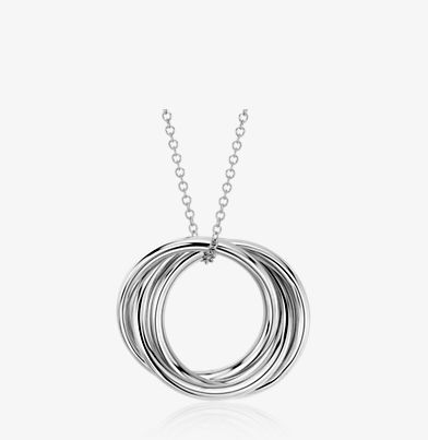 Pendant with three interlocked rings in 14k white gold.