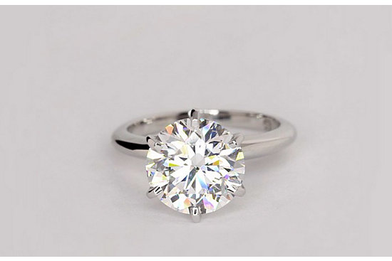 Classic Six-Prong Solitaire Engagement Ring in Platinum set with a 3.67 Carat flawless, ideal-cut round diamond