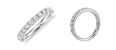 Anillo con pavé de diamantes Riviera en platino (1/2 qt. total)