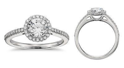 Bague de fiançailles halo de diamants classique en platine