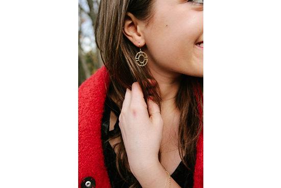 Round Geometric Drop Earrings