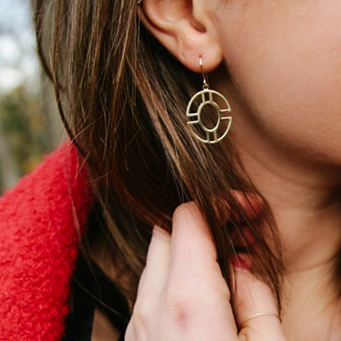 Round Geometric Drop Earrings