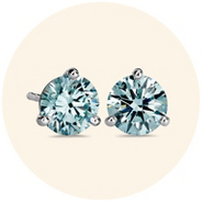 Blue lab-grown diamond stud earrings