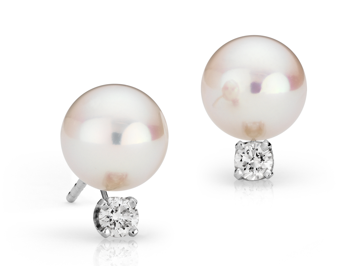 Premier Akoya Pearl Earrings in 18k White Gold