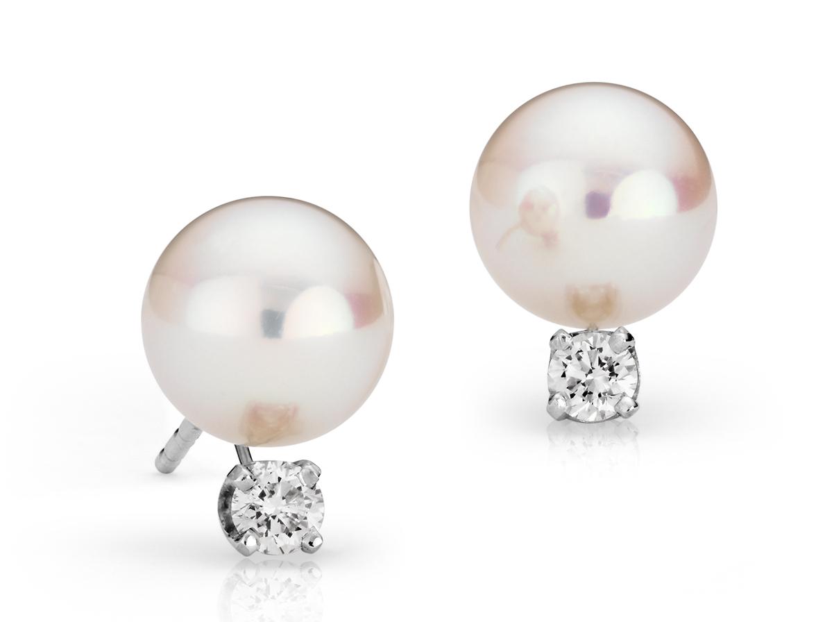 Aretes de perlas de Akoya Premier en oro blanco de 18 k