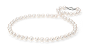 淡水养殖珍珠链,配 14k 白金安全扣环。