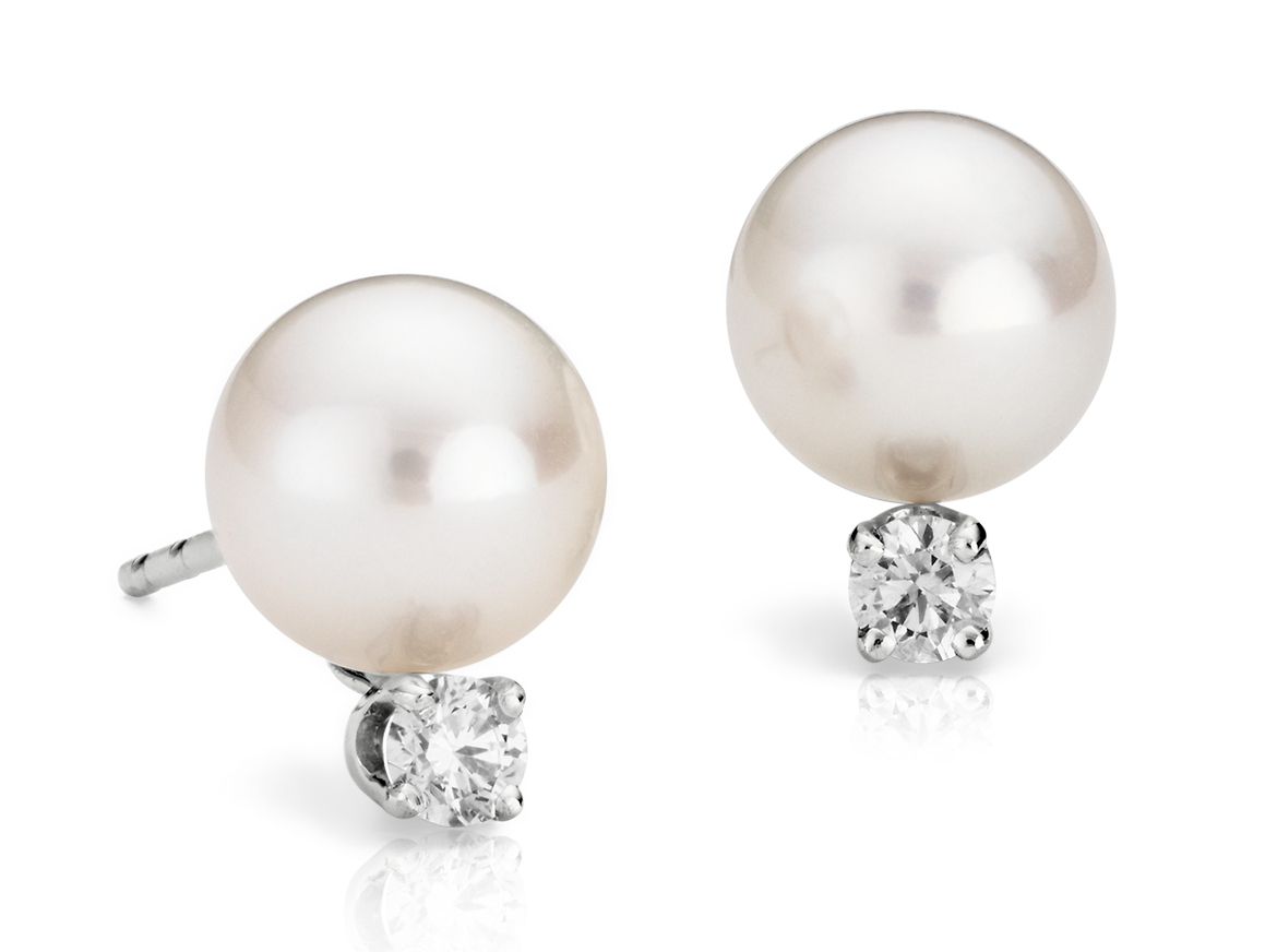 Classic Akoya Pearl Earrings in 18k White Gold