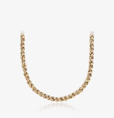 Woven yellow gold double chain link necklace.