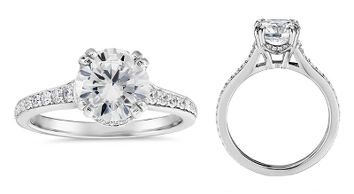 Graduated Double Prong Pavé Diamond Engagement Ring in Platinum