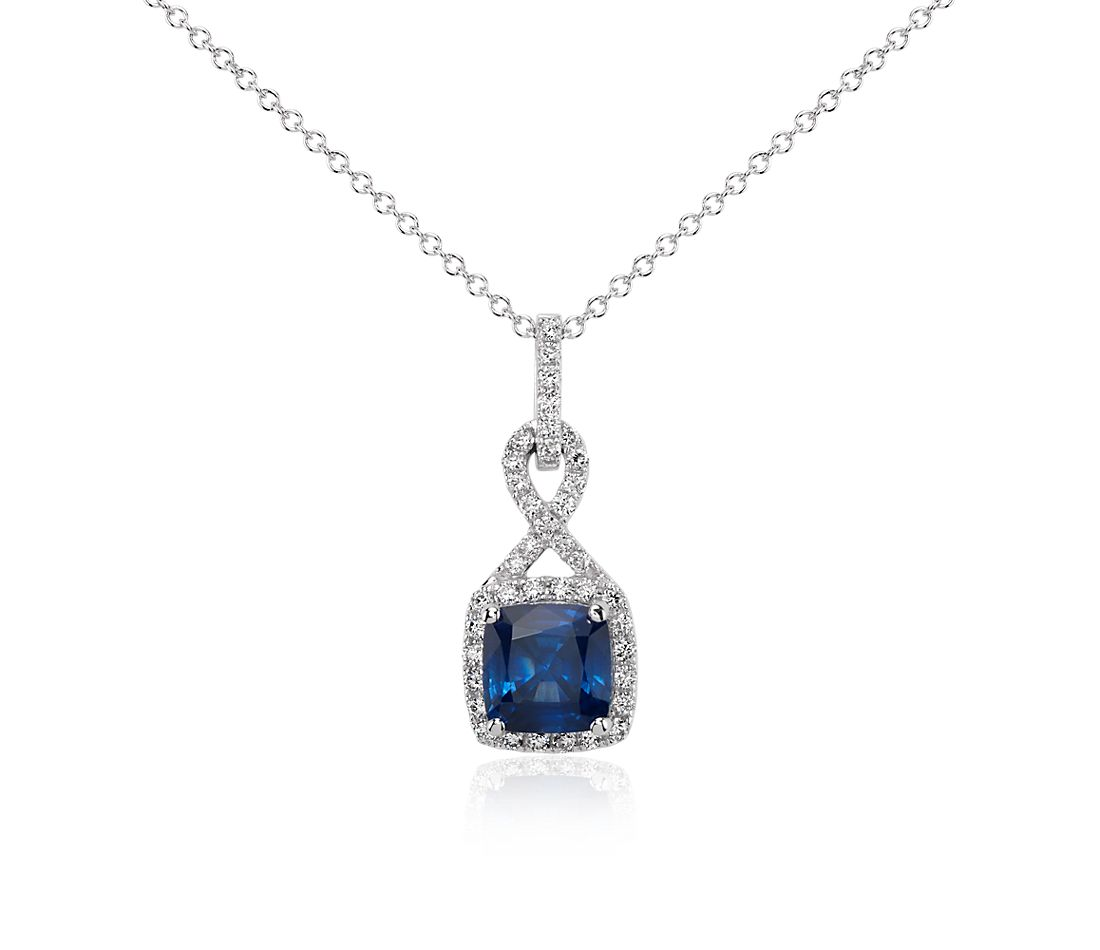 Cushion-Cut Sapphire and Diamond Halo Twist Pendant