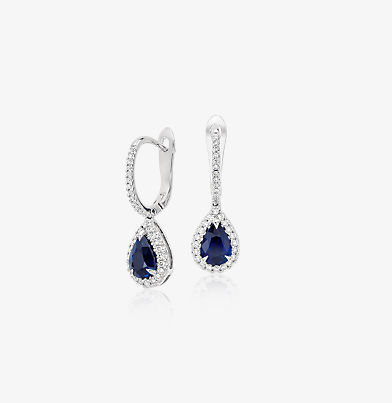 Pear-shaped sapphire drop earrings surrounded by diamond halos.