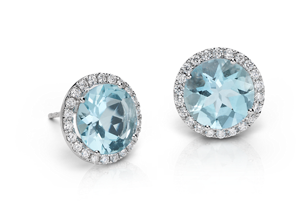 Aquamarine and Micropavé Diamond Stud Earrings