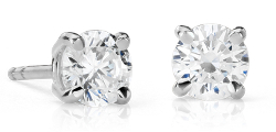 Aretes de diamantes canadienses en oro blanco de 18 k