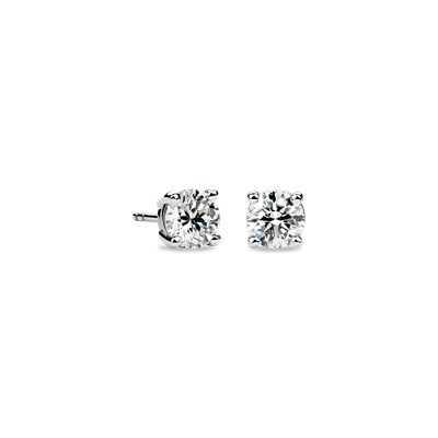 Round 14k Yellow Gold Diamond Stud Earrings