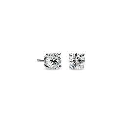 Puces d'oreilles en diamant en or blanc 14carats