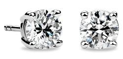 Aretes de diamantes en oro blanco de 14 k