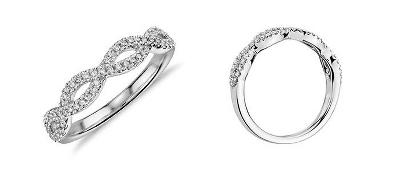 Infinity Twist Micropavé Diamond Wedding Ring in 14k White Gold (1/5 ct. tw.)