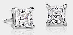 Princess-Cut Diamond Stud Earrings in 18k White Gold