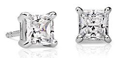 Aretes con diamante de talla princesa en oro blanco de 18 k