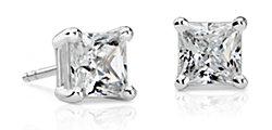 Aretes con diamante de talla princesa en platino