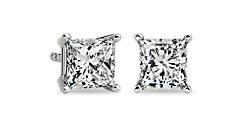 Aretes con diamante de talla princesa en oro blanco de 14 k