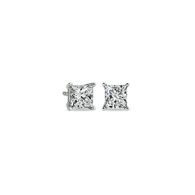Princess-Cut Diamond Stud Earrings in 14k White Gold