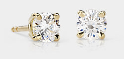 Puces d'oreilles en diamant rond en or jaune 14carats