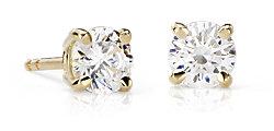 14k 黃金圓形 鑽石釘款耳環
