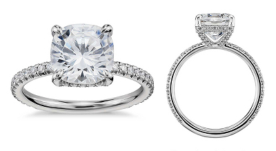 Blue Nile Studio Cushion Cut Petite French Pavé Crown Diamond Engagement Ring in Platinum