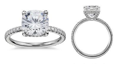 Blue Nile Studio Cushion Cut Petite French Pavé Crown Diamond Engagement Ring in Platinum