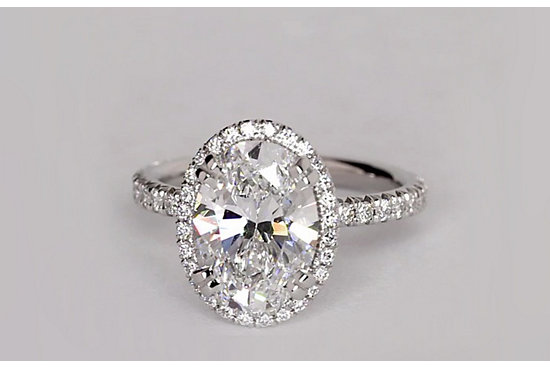 Blue Nile Studio Oval Cut Heiress Halo Diamond Engagement Ring in Platinum set with a 2.51 Carat oval diamond