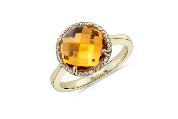 Citrine and Diamond halo ring