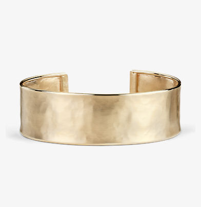 Cuff bracelet with hammered finish in 14k italian yellow gold.