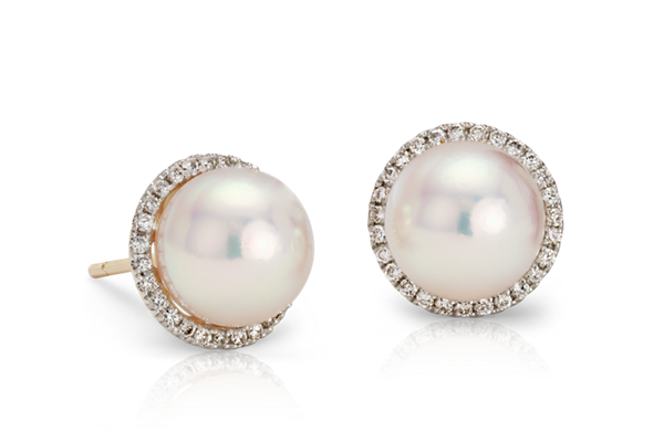 Pearl and Diamond Halo Stud Earrings