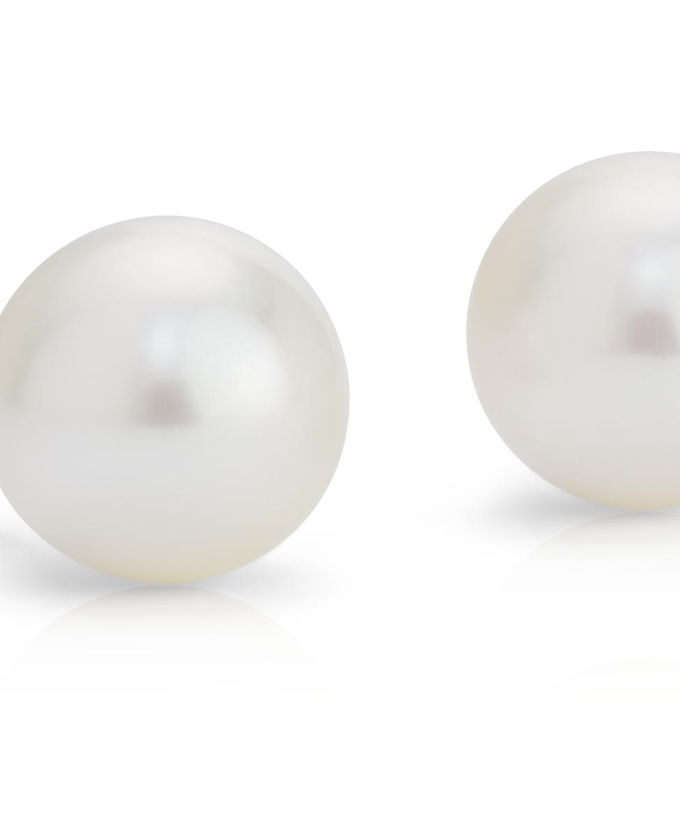 Aretes de perlas de los mares del Sur en oro blanco de 18 k