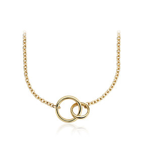 A yellow gold thin chain link necklace with two large interlocking rings.