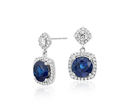 Cushion-cut Sapphire and Diamond Halo Earrings