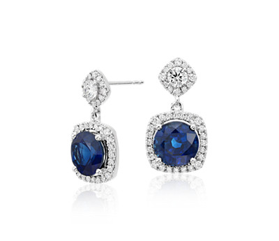 Cushion-cut Sapphire and Diamond Halo Earrings
