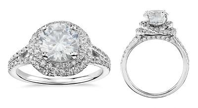 Truly Zac Posen Ribbon Halo Diamond Engagement Ring in Platinum