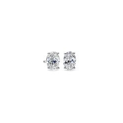 橢圓切割 14k 白金鑽石釘款耳環