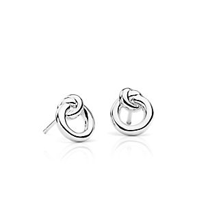 Love knot stud earrings in sterling silver.