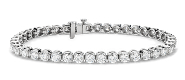 Classic round diamond tennis bracelet in 14k white gold.