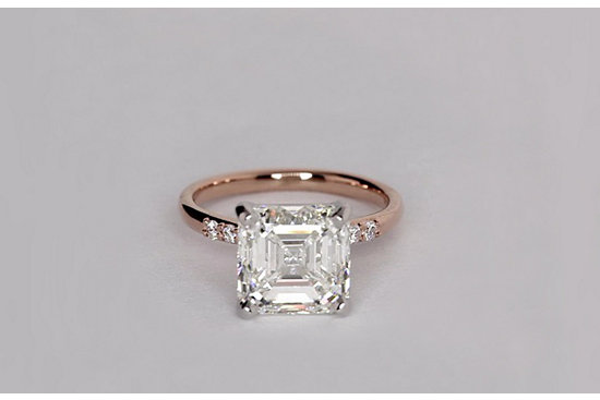 Petite Diamond Engagement Ring in 14k Rose Gold set with a 4.02 Carat Asscher-cut diamond