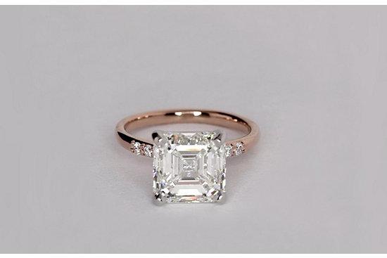 Petite Diamond Engagement Ring in 14k Rose Gold set with a 4.02 Carat Asscher-cut diamond